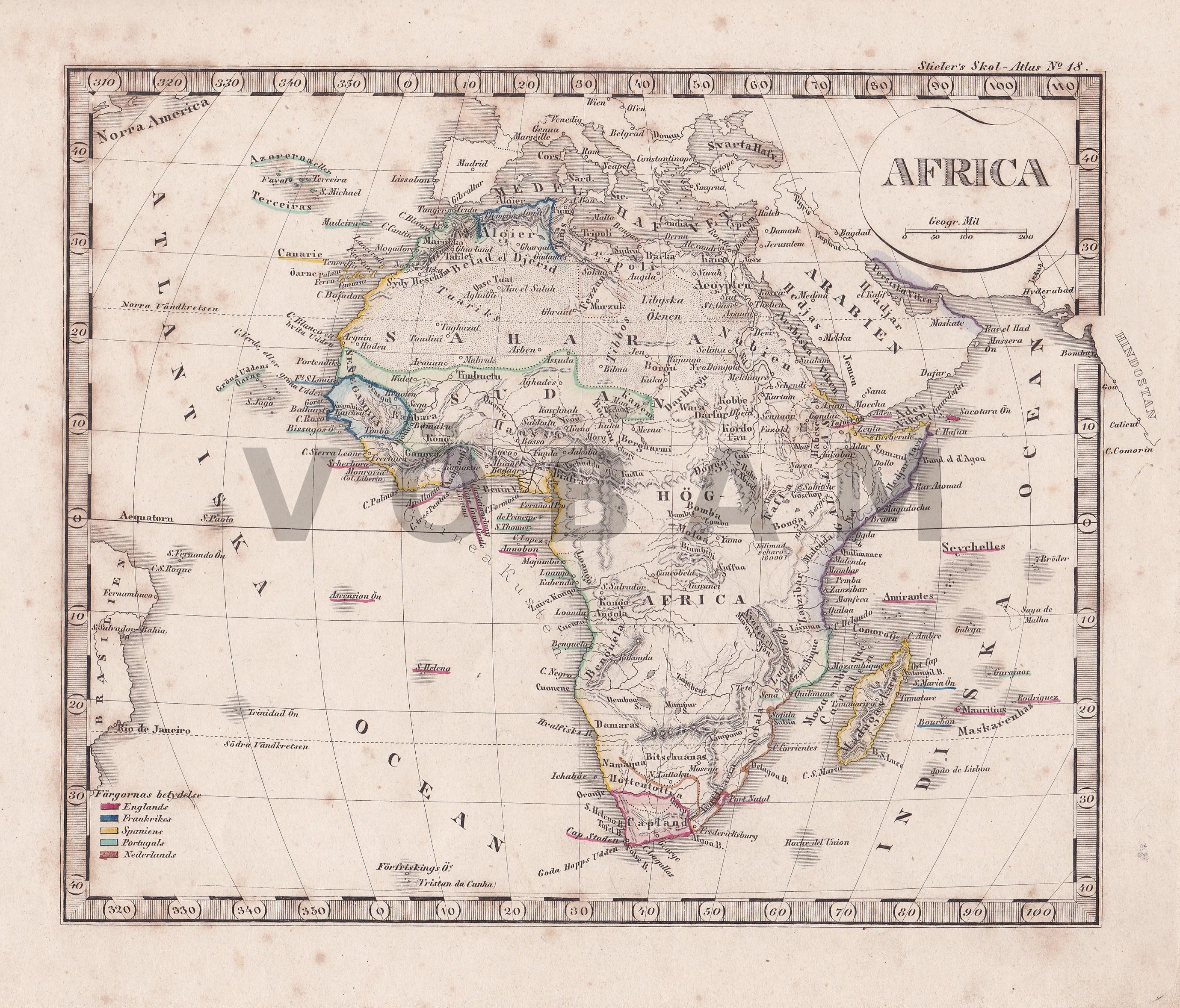 Karta Afrikas Ostkust.Vobam Bilder Och Kartor Fran Hela Varlden Antika Och Nytryck